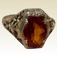 Art Deco 14K White Gold Filigree Citrine Glass Stone Ring