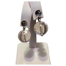 Vintage Clear Lucite Clip Blowing Bubbles Dangle Earrings