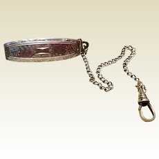Art Deco RMCo Sterling Silver Belt Watch Fob Chain