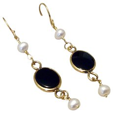 Vintage Upcycled Gold Filled Black Onyx Pearl Dangle Earrings