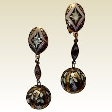 Vintage 1940's Spanish Damascene Dangle Clip Earrings