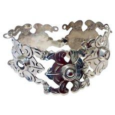 Vintage 1930's Mexico Sterling Silver Flexible Link Bracelet