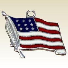 Vintage Sterling Silver Enameled American Flag Charm