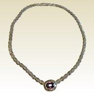 Vintage Sterling Silver Marcasite & Faceted Amethyst Necklace