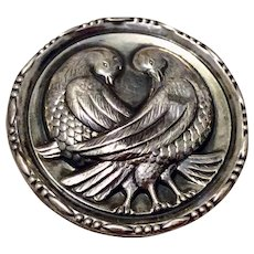 Vintage 1940's Large Sterling Silver Dove Brooch Patented