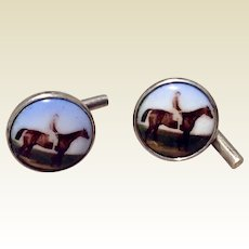 Vintage English Sterling Silver Equestrian Cufflinks