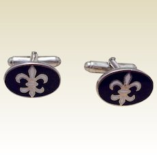 Vintage English Sterling Silver Fleur d Lis Cufflinks