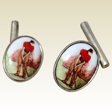 Vintage English Sterling Silver Golfer Cufflinks