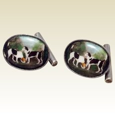 Vintage English Sterling Silver Hunting Dog Cufflinks