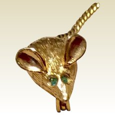 Darling Gold Tone Metal Mouse With Green  Eyes & Flexible Tail