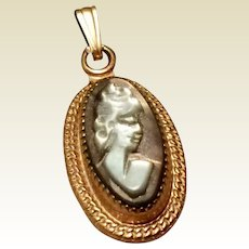 Vintage 12K Gold Filled Faux Cameo Pendant