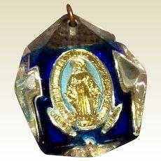 Vintage Lucite Miraculous Medal Pendant