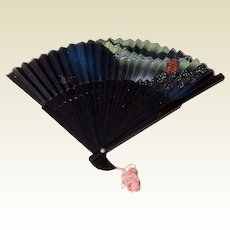 Vintage Black Hand Painted Oriental Hand Fan