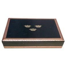 Vintage Black Leather Embossed Crowns Jewelry Box