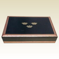 Vintage Swedish Black Leather Embossed Crowns Jewelry Box