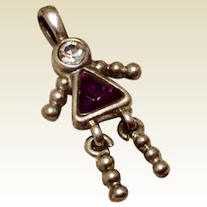 Vintage Sterling Silver Girl July Birthstone Faux Ruby Faux Diamond Pendant Charm