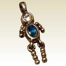 Vintage Sterling Silver Boy December Birthstone Faux Tanzanite Faux Diamond Pendant Charm