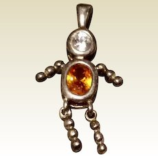 Vintage Sterling Silver Boy November Birthstone Faux Citrine Faux Diamond Pendant Charm