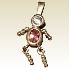 Vintage Sterling Silver Girl October Birthstone Faux Tourmaline Faux Diamond Pendant Charm