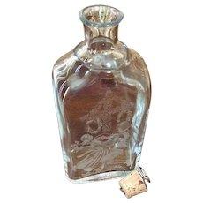 Vintage SEA Of Sweden Handmade Rune Strand Etched Glass Decanter