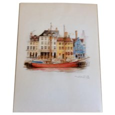 Set Of 4 Watercolor Prints Of Copenhagen By Mads Stage