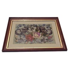 Antique English Framed Floral Beaded Woolwork Needlework