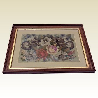 Antique English Framed Floral Beaded Woolwork Needlework