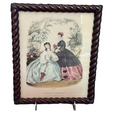 "Vintage Framed Fashion Print From ""La Mode Illustrée"" Paris Magazine"