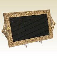 Vintage Art Deco Gold Tone Metal Ornate Mirrored Vanity Tray