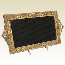Vintage Art Deco Gold Tone Metal Ornate Mirrored Vanity Tray