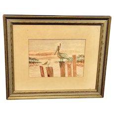 Vintage Framed.  Pelican Picture Artist Signet