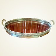 Large Oval English Duchess Plate Pierced Gallery Tray