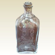 Vintage SEA Of Sweden Handmade Rune Strand Etched Glass Decanter