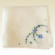 Vintage Hankie Hand Embroidered Blues Flowers