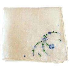 Vintage Hankie Hand Embroidered Blues Flowers