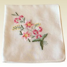 Vintage White Hankie With Pink Embroidered Flower Spray