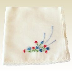 Vintage White Cotton  Handkerchief With Blue & Red Flowers