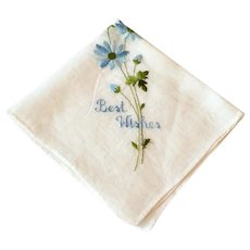 Vintage White Best Wishes Hankie With Blue Floral Spray