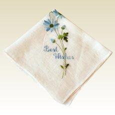 Vintage White Best Wishes Hankie With Blue Floral Spray