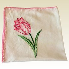Vintage White Cotton  Handkerchief  With Hand Embroidered Pink & Red Tulips