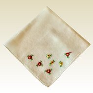 White Cotton Hankie With Red Flowers