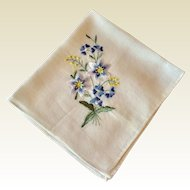 Vintage White Cotton  Handkerchief With Blue Floral Spray