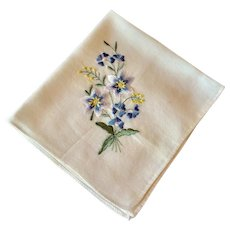 Vintage White Cotton  Handkerchief With Blue Floral Spray