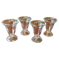 Vintage Set Of Four Ice Cream Sundae Glasses