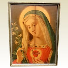 Vintage Wood Framed Lithograph Of Sacred Heart Of Mary