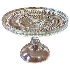 Vintage Clear Glass Pedestal Cake Stand