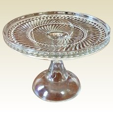 Vintage Clear Glass Pedestal Cake Stand