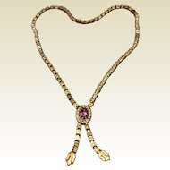 Victorian Gold Filled Bookchain With Amethyst Colored Paste Stone