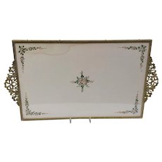 Vintage Large Gold Tone Metal Dresser Tray