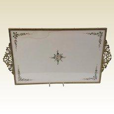 Vintage Large Gold Tone Metal Dresser Tray